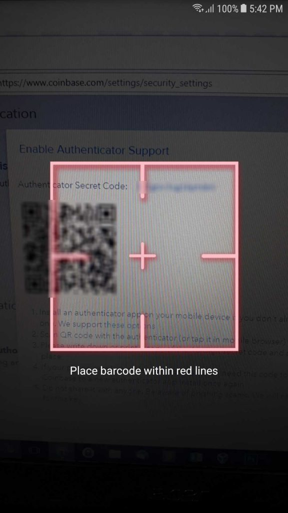Google Zwei Faktor Authentifizierung qr code